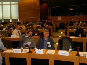 FFII-konferens om mjukvarupatent i europaparlamentet i Bryssel, april 2004. Fotograf behöver ej anges.