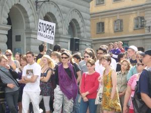 Manifestation mot FRA på Mynttorget