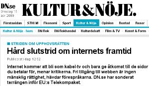 DN-artikel om telekompaketet