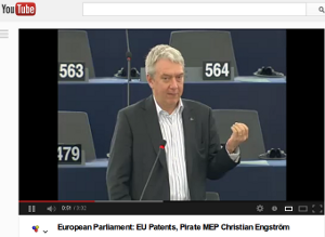 Video of my intervention in the patent debate