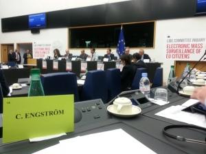 Dagens hearing i EU-parlamentet om massavlyssningen (innan dörrarna stängdes)