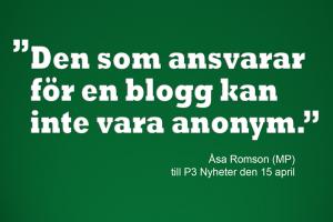 Sagt av Åsa Romson (MP)