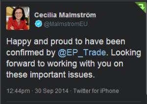 Cecilia Malmström blir ny EU-kommissionär med ansvar för handelsavtal som TTIP