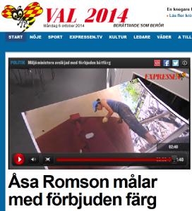 Enligt upphovsrätten har Expressen inte rätt att visa den här bilden där Åsa Romson målar med giftig miljöfarlig båtfärg