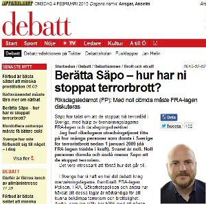 Läs frågan som Mathias Sundin (FP) ställer till Säpo