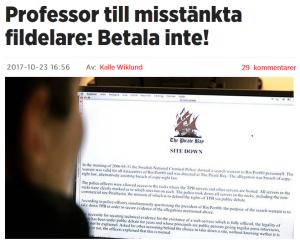 """Rubrik från artikel: """"Professor till misstänkta fildelare: Betala inte!"""""""