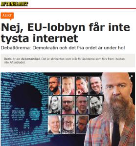 """Debattartikel hos Aftonbladet: """"Nej, EU-lobbyn får inte tysta internet"""""""