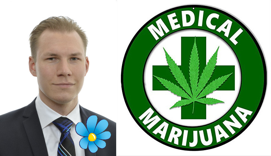 Markus Wiechel (SD) med logga Medical Marijuana